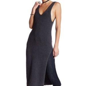 Free People Grey Emmy Ribbed Sweater Tank Dress